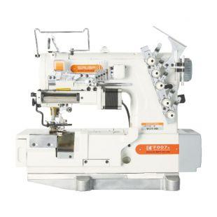 Siruba F007K-W522-364/FR/FFC/LS-A, F007K-W522-356/FR/FFC/LS-A плоскошовная швейная машина (распошивалка) с устройством подачи эластичных кружев и подрезкой материала справа